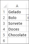 lista de valores a utilizar na caixa de combinação