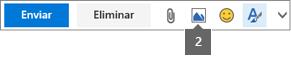 O ícone Inserir Imagem permite-lhe inserir um ficheiro a partir do OneDrive ou do seu computador