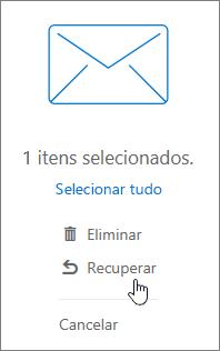 Uma captura de écran mostra a opção Recuperar selecionada no painel de leitura.