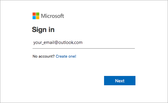 Introduza o endereço de e-mail associado ao Office.