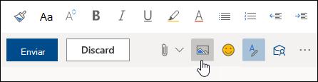 Uma captura de ecrã do botão Inserir imagens inline