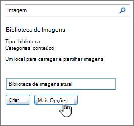 Crie um diálogo de biblioteca de imagens com mais opções em destaque
