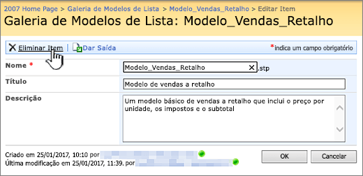 Editar a página do modelo da lista com a eliminação realçada.