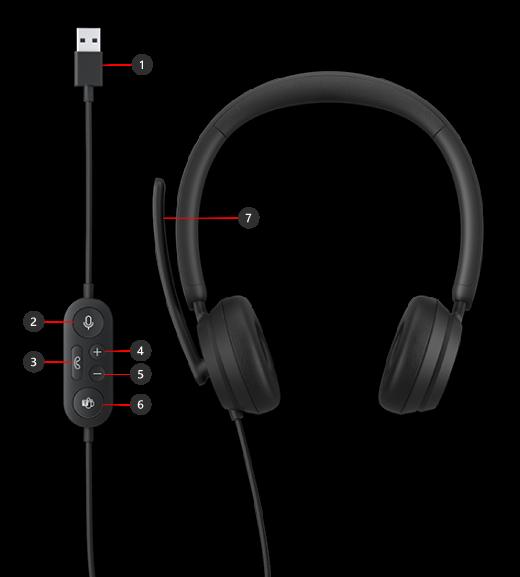 Botões nos Auscultadores USB Modernos da Microsoft