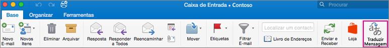 Botão Traduzir no friso do Outlook para Mac