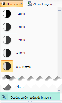 Para ajustar o montante do contraste, selecione as opções de correções de imagem