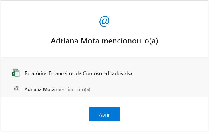 Captura de ecrã de um e-mail de notificação de menção do Excel