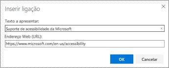 Caixa de diálogo Hiperligação no Outlook na Web.