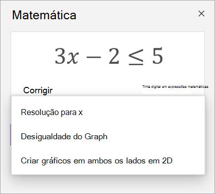 Uma equação com uma lista pendente de formas de o resolver.