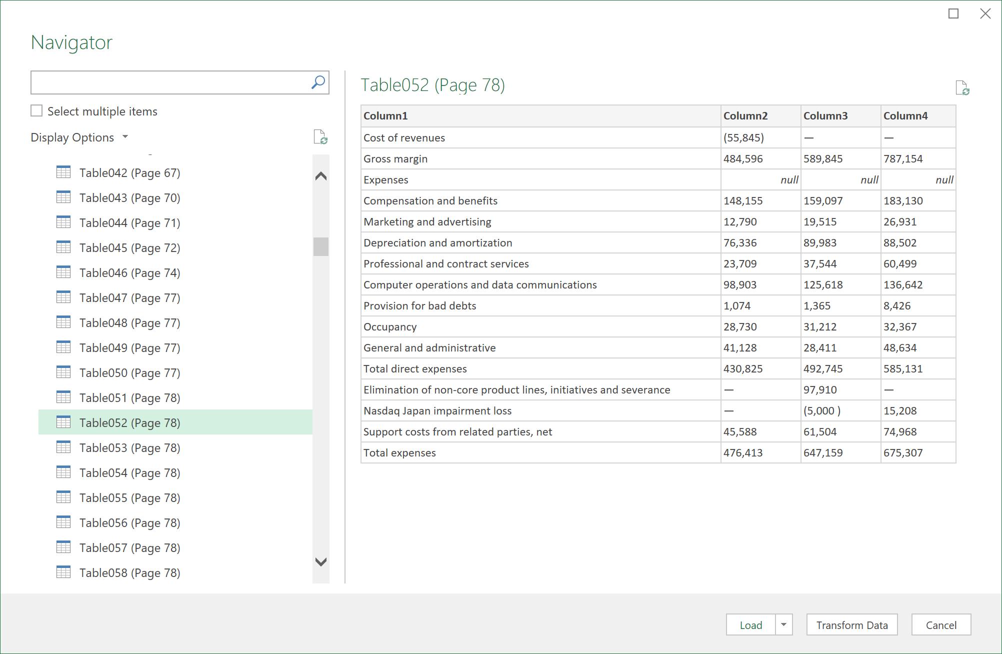 A caixa de diálogo Navigator para importar dados PDF