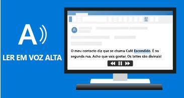 Ícone Ler em Voz Alta à esquerda e uma mensagem com texto realçado
