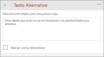 Caixa de diálogo texto alternativo para tabelas no PowerPoint para telemóveis Windows.
