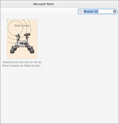 Encontrar predefinições de Modelos em 3d no Word para Mac