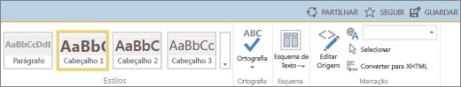 Captura de ecrã de uma secção do friso do SharePoint Online com os controlos Partilhar, Seguir e Guardar.