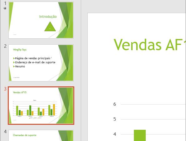Apresenta o Painel de Diapositivos com o terceiro diapositivo selecionado no PowerPoint