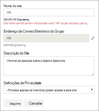 Captura de ecrã: Política de atribuição de nomes de grupo - Site do SharePoint bloqueados nome