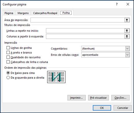 Opções da folha de > Configurar página