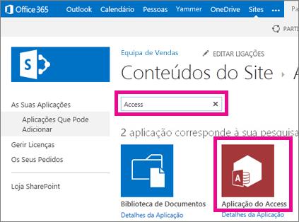 Procurar uma aplicação do Access a partir da página Adicionar uma aplicação no SharePoint
