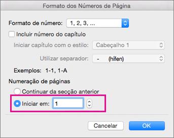 Na caixa de formatação Número de Página, a opção Iniciar em está definida para 1.