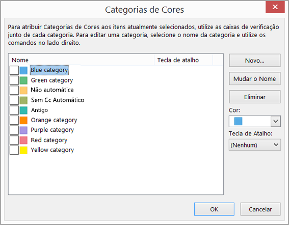 Caixa categorias de cores