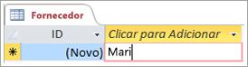 Recorte de ecrã do ID na tabela Fornecedores