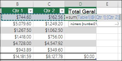 Adicionar uma única fórmula numa célula de tabela que será a conclusão automática para criar uma coluna calculada