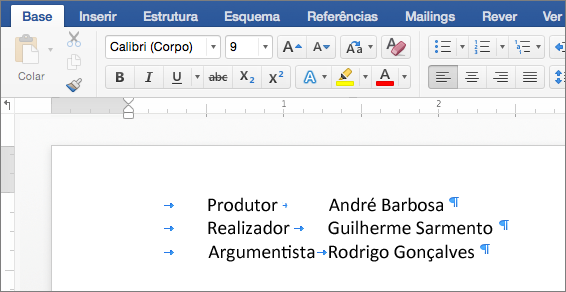Um exemplo mostra texto após a tabulação ser removida.