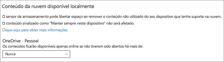 Desvendado do Armazenamento do Windows 10 para selecionar quando fazer ficheiros OneDrive apenas online