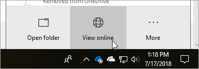 Captura de ecrã do botão Ver online