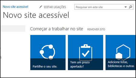Captura de ecrã do novo site SharePoint, que mostra os mosaicos utilizados para o personalizar
