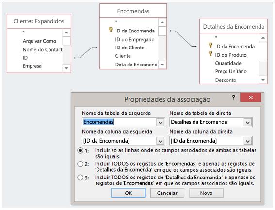 Captura de ecrã de três tabelas e das respetivas Propriedades da Associação