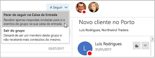 Botão subscrever no cabeçalho grupos no Outlook 2016