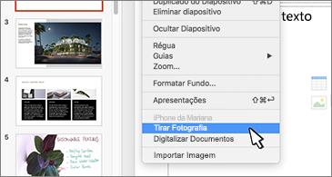 Diapositivo com o comando Tirar Fotografia selecionado no menu de contexto