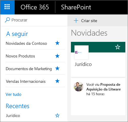 Captura de ecrã da home page na vista Moderna do SharePoint.