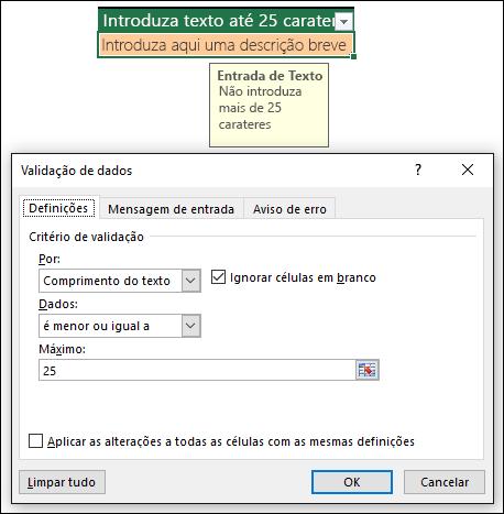 Exemplo de validação de dados com comprimento de texto limitado