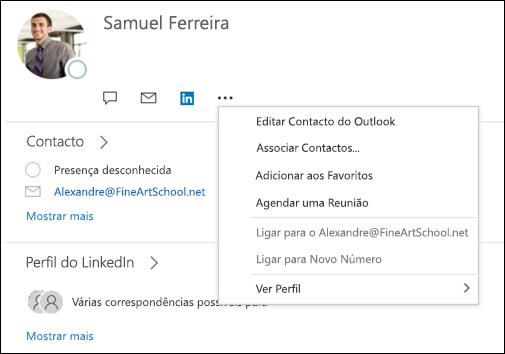 Selecione ligar contactos para atualizar as informações de outro registo de contactos.