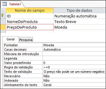 Regra de validação de campo apresentada no estruturador de tabelas do Access