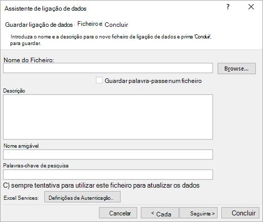 Ecrã 3 do Assistente de Ligação de Dados