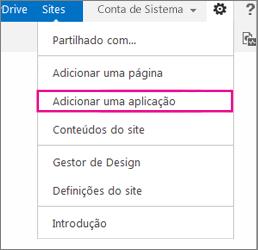 Adicionar uma aplicação (lista, biblioteca)