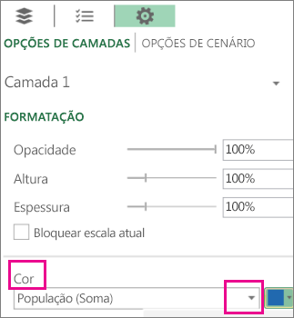 Caixa de listagem de Série de Dados para o menu pendente Cor