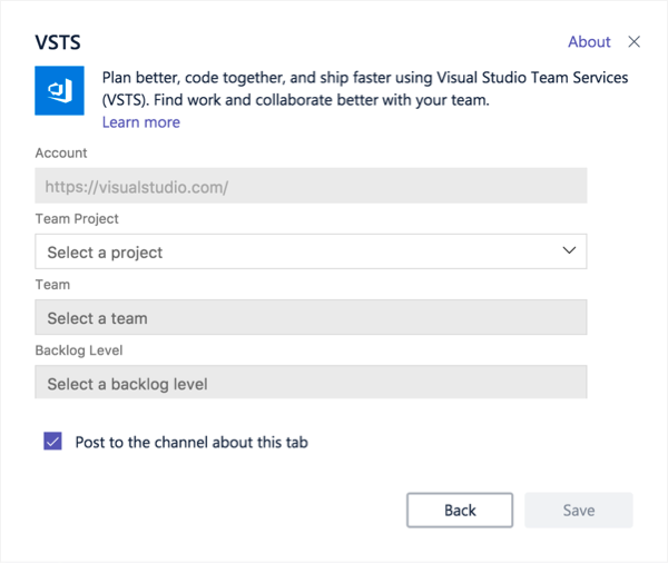 Caixa de diálogo do Visual Studio para adicionar um quadro Kanban a um separador