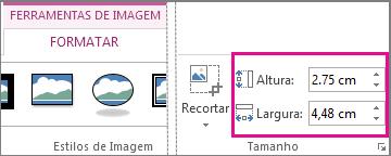 Caixas de Altura e Largura no separador Formatar das Ferramentas de Imagem