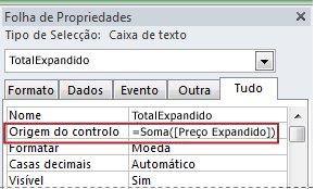 Expressão na propriedade Origem do Controlo de uma caixa de texto.