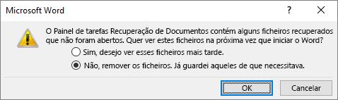 Caixa de diálogo guardar recuperação de documentos