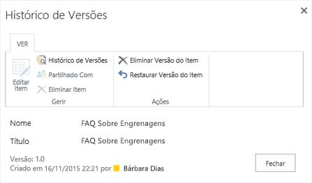 Caixa de diálogo de história do SharePoint 2016 mostrando versão anterior