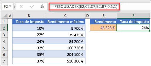 Imagem da função XLOOKUP usada para devolver uma taxa de imposto com base no rendimento máximo. Esta é uma combinação aproximada. A fórmula é: =XLOOKUP(E2,C2:C7,B2:B7,1,1)