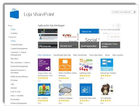 Captura de ecrã da loja do SharePoint