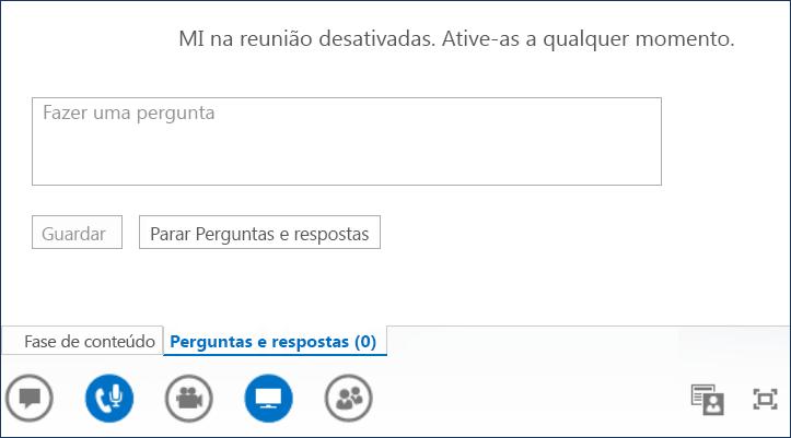 Captura de ecrã do Apresentador de Perguntas e Respostas