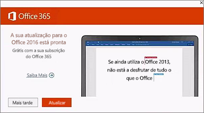 Captura de ecrã de aviso para atualizar para o Office 2016