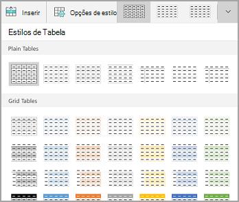Galeria de modelos de tabela do Windows Mobile